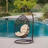 Christopher Knight Home Outdoor Brown Wicker Tear Drop Hanging Chair