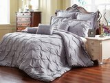 Unique Home Eight Piece Reversible Pinch Pleat Comforter Set