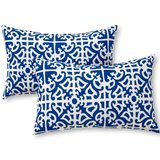 Greendale Home Fashions Rectangular Indoor/Outdoor Throw Pillows in Indigo (Set of 2)