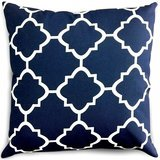 Utopia Bedding Decorative Square Throw Pillow in Navy & White Moroccan Quatrefoil Lattice
