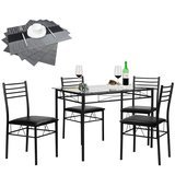 VECELO Black Dining Table with 4 Chairs